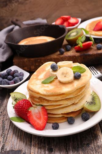 pancake stack with fruit, bananan and berry fruit Wallpaper Mural