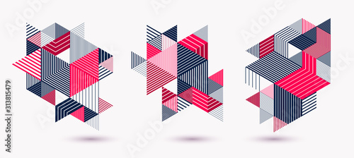 Photo Polygonal low poly vector abstract designs set, artistic retro style backgrounds for ads or prints, covers or posters, banners or cards