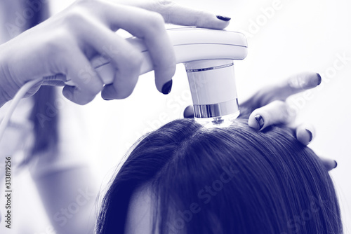 Obraz Diagnostic complex for microscopic examination of hair and skin of the scalp. - fototapety do salonu