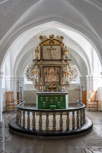 Foto  The interior with the altar in the S:t Nicolai church in Simrishamn in Sweden