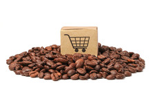 Box With Shopping Cart Logo Symbol On Coffee Beans  : Import Export Shopping Online Or ECommerce Delivery Service Store Product Shipping, Trade, Supplier Concept..