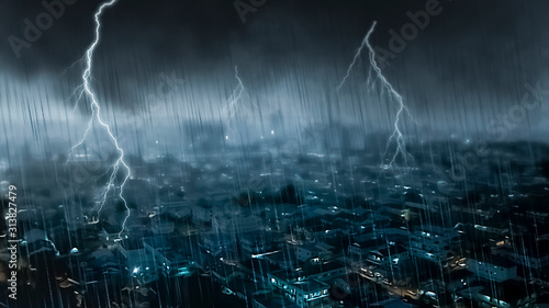 Fotografie, Tablou Apocalyptic scene on city with thunderstorm