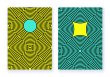 Concentric Circles Grid Cover Set Pop Blue Yellow
