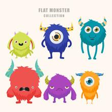Cartoon Cute Monster Set. Funn...