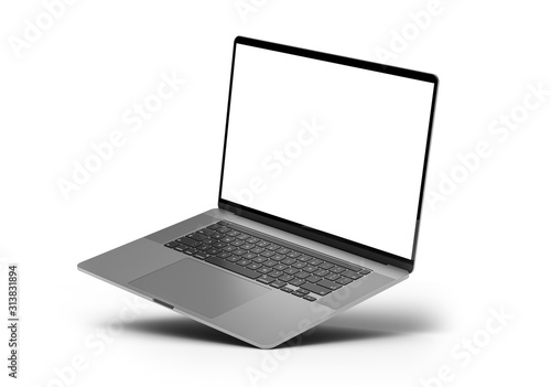 Laptop mockup template blank screen standing on corner isolated all in focus Canvas Print