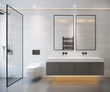 interior of light grey modern bathroom with double sink