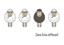 Cute Smiling Black Sheep Among White Ones. Dare To Be Different Hand Written. Black Sheep Of The Family, Standing Out From Crowd, Be Yourself Concept