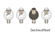 Cute Smiling Black Sheep Among...