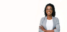 Confident Afro Businesswoman Posing With Folded Arms On White Background