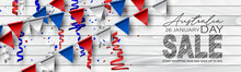 Happy Australia Day Poster Or Banner. National Holiday Background Design. Bunting Flags And Confetti Over Wooden Wall. Website Or Newsletter Header. Vector Illustration.