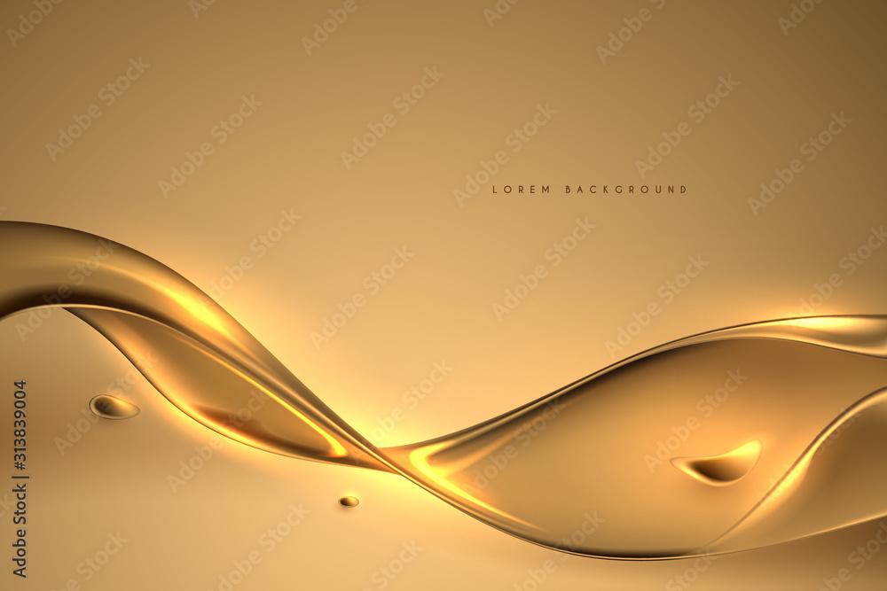 Fototapeta Beautiful golden oil liquid background