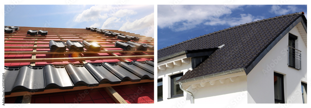 Fototapeta Collage with various roofing pictures