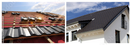 Fototapeta Collage with various roofing pictures obraz