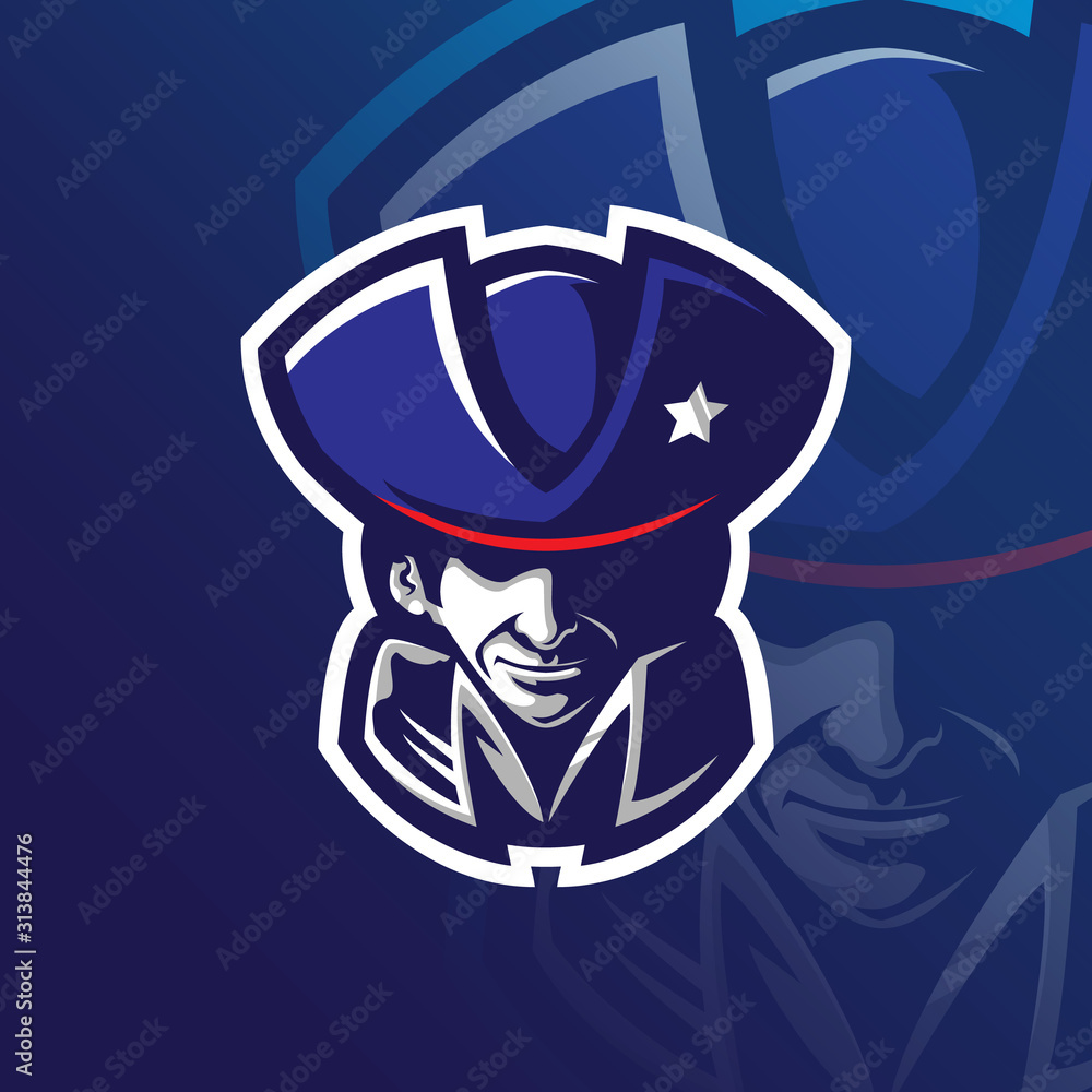 Fototapeta patriot mascot logo design vector with modern illustration concept style for badge, emblem and tshirt printing. patriot head illustration.