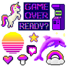 Set Of Minimalistic Pixel Art Vector Objects Isolated. Game 8 Bit Style Minimalistic Pixel Graphic Symbols Group Collection. Vaporwave