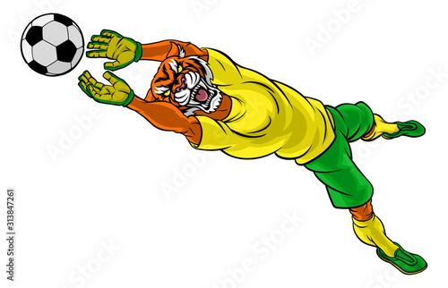 Photo A tiger soccer football player goal keeper cartoon animal sports mascot diving t