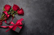 canvas print picture - Valentines day card with gift box and rose flowers