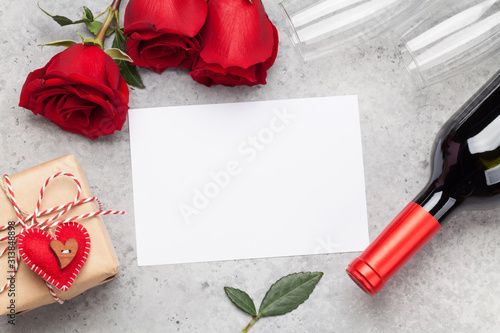 Obraz Valentines day with gift, wine and roses - fototapety do salonu