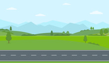 Straight Empty Road Through The Countryside. Green Hills, Blue Sky, Meadow And Mountains. Summer Landscape Vector Illustration.