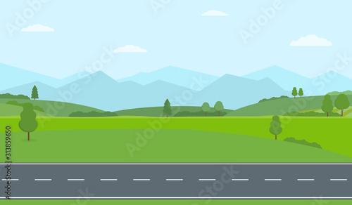 Obraz na plátne Straight empty road through the countryside
