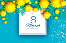 Yellow Mimosa. Beautiful Origami Silver Wattle Branches. Original Floral Bouquet. Happy Womens Day, Mothers Day Or Birthday. 8 March. Spring. Paper Cut Style. Square Frame. Blue Background.