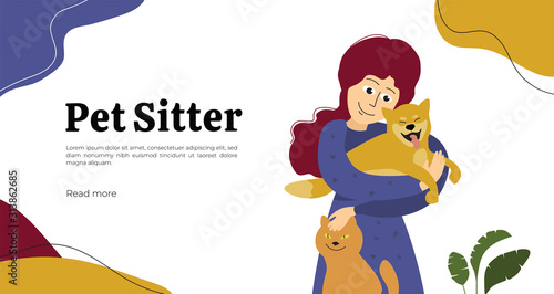 Cuadros en Lienzo Design for pet sitter or care service, vet clinic, medicine, veterinary hospital