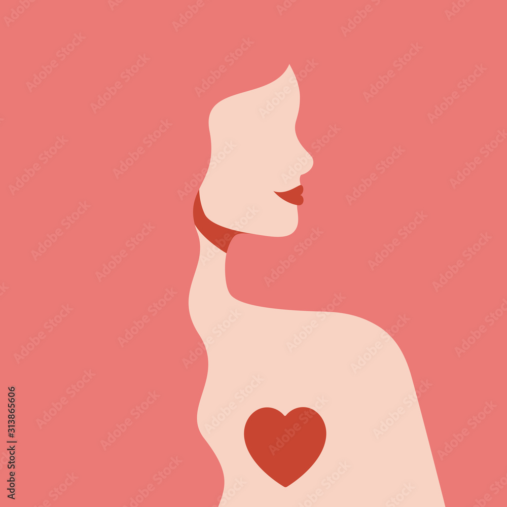 Fototapeta Silhouette woman with love in her heart. Girl with long pink hair and red lips in profile view. Self-care and body-positive concept. St Valentine's day card.