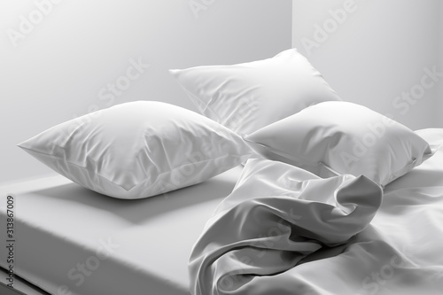 Unmade bed with soft clean white linen and pillows Tableau sur Toile