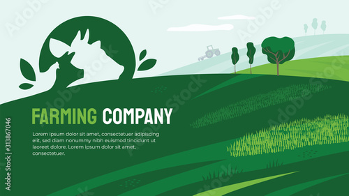 Obraz Vector illustration of agriculture with farm animals icon. Design for farming company with agricultural field and tractor. Logo with cow, pig and chicken. Template for banner, print, flyer, layout, ad - fototapety do salonu