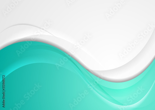 Photo  Turquoise and grey smooth blurred waves abstract background