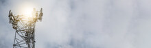 Communication Tower Network Banner With Copy Space.