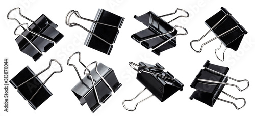 Black paper clip isolated on white background Canvas Print