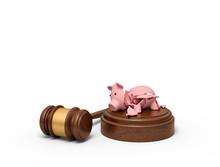 3d Rendering Of Pieces Of Broken Piggy Bank Lying On Sounding Block With Gavel Beside.
