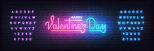 Valentines Day. Valentines Day Neon Glowing Lettering Sign