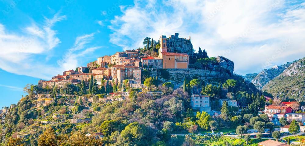 Fototapeta Eze village is a famous tourist destination on French Riviera - Nice, France