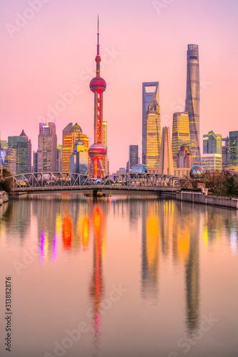Shanghai Skyline, view from the Bund, China Wallpaper Mural