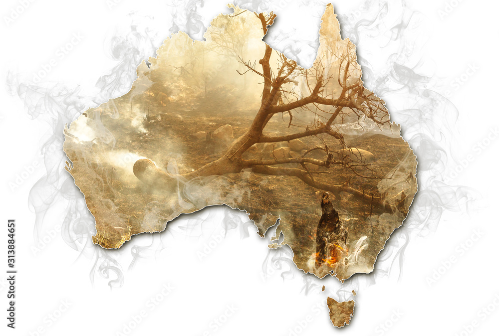 Fototapeta Australian map with smoking bushes and trees after fire isolated on white background. Concept of bushfires in Australia.