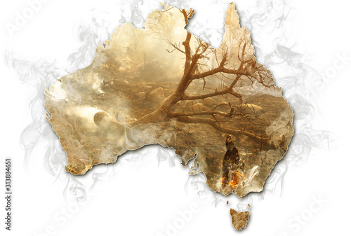 Fototapeta Australian map with smoking bushes and trees after fire isolated on white background. Concept of bushfires in Australia. obraz