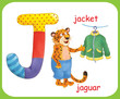 English alphabet. ABC. Capital letter J. Jaguar, jacket. Coloring book. Coloring page. Illustration for children. Cute cartoon characters isolated on white background. Card. Poster