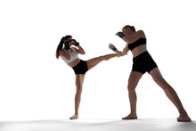 MMA Female Fighters Isolated On White Background.