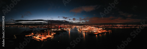 Aerial Night View Of Dublin City. Canvas Print