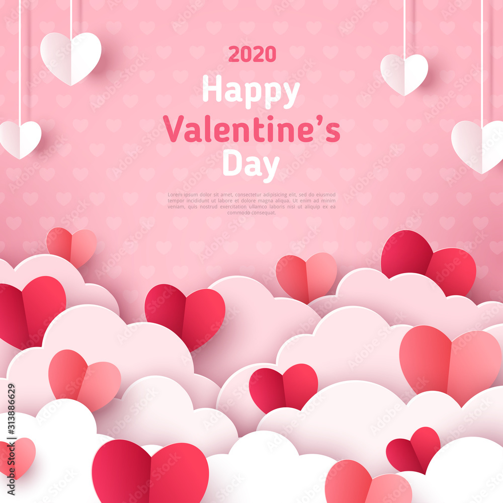 Fototapeta Valentine's day concept background. Vector illustration. 3d red and pink paper cut hearts with white clouds. Cute love sale banner or greeting card