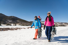 Family Snowshoeing At Snow Mountain Ranch Nordic Center Trails In Winter Park, Colorado.