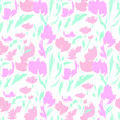 Illustration with Flowers and Exotic Leaves , Seamless Pattern Print