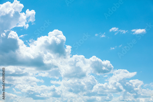 Obraz Blue sky with clouds. Abstract nature sky background. Aerial view. Sky texture, abstract nature background - fototapety do salonu