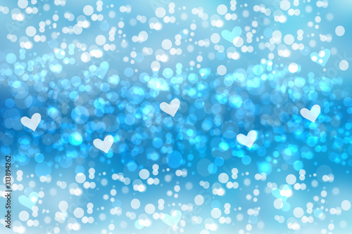 Abstract festive blur bright blue pastel background with light blue hearts inside love bokeh for wedding card or Valentines day.  Romantic textured backdrop with space for your design. Card concept.