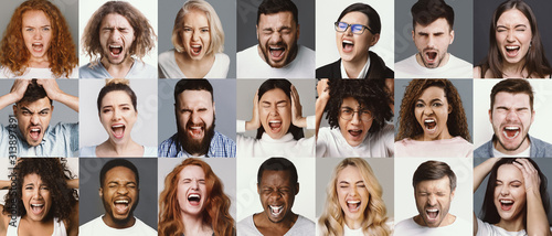 Collage of multiethnic group of people screaming, shouting, expressing their emotions