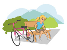 Girl Cyclist With Injured Leg Sitting On Bench