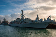 The Royal Navy Frigate HMS Lancaster (F229) Moored In Portsmouth, UK