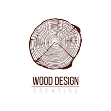 Annual Tree Growth Rings Logo, Cross-section Of A Tree Trunk. Stock Vector Illustration Isolated On White Background.